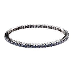Elastic Tennis Blue Silver Bracelet