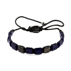 Flat Resin Dark Blue Adjustable Bracelet