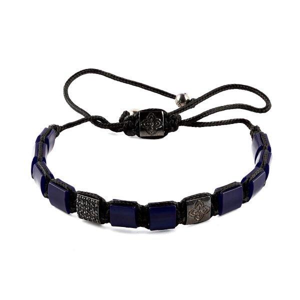 Flat Resin Dark Blue Adjustable Bracelet