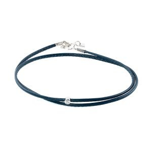 Small Diamond Blue Double Wrap Bracelet