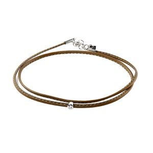 Small Diamond Kaki Double Wrap Bracelet
