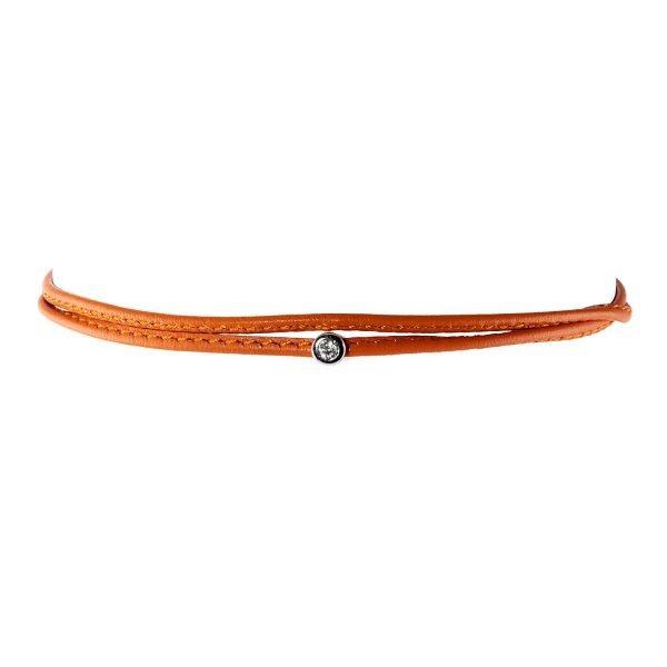 Small Diamond Orange Double Wrap Bracelet