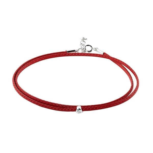 Small Diamond Red Double Wrap Bracelet