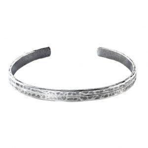Thick 2 stripe silver Cuff Bracelet