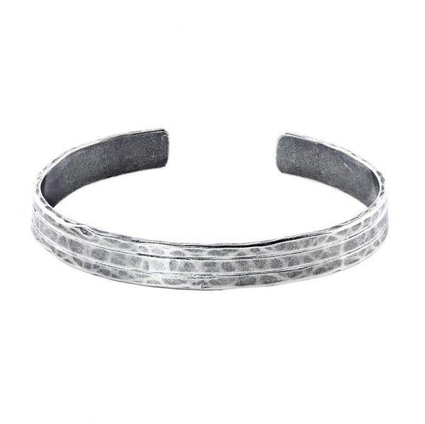 Thick 3 stripe silver Cuff Bracelet