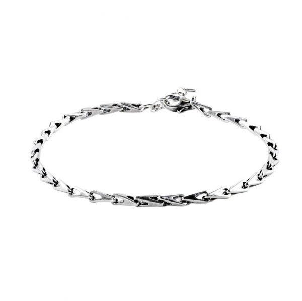 Thin Silver Complex Chain Bracelet